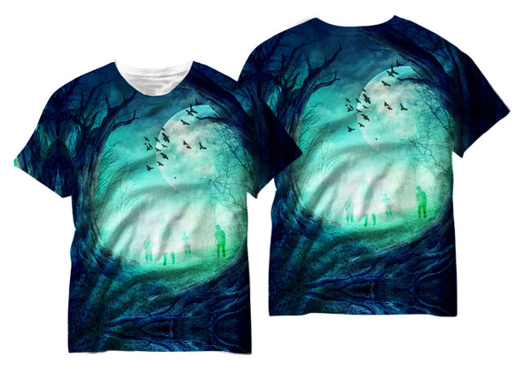 Creepy Night Time Forest Sublimation T-Shirt - Vivid Sportswear
