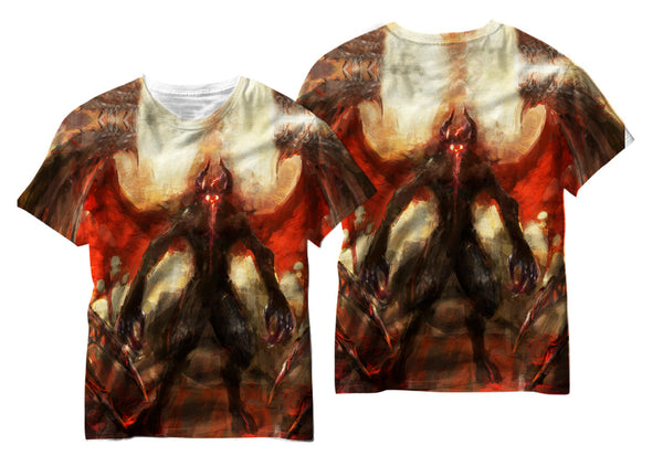 Winged Red Eyed Demon Sublimation T-Shirt - Vivid Sportswear