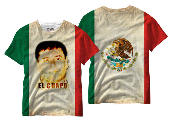 Adults El Chapo w/ Mexican Flag Sublimation T-Shirt - Vivid Sportswear