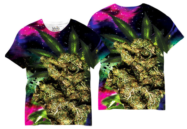 Adults Weed Bud in Space T-Shirt - Vivid Sportswear