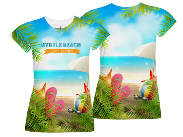 Flip Flops on Beach Sublimation T-Shirt - Vivid Sportswear