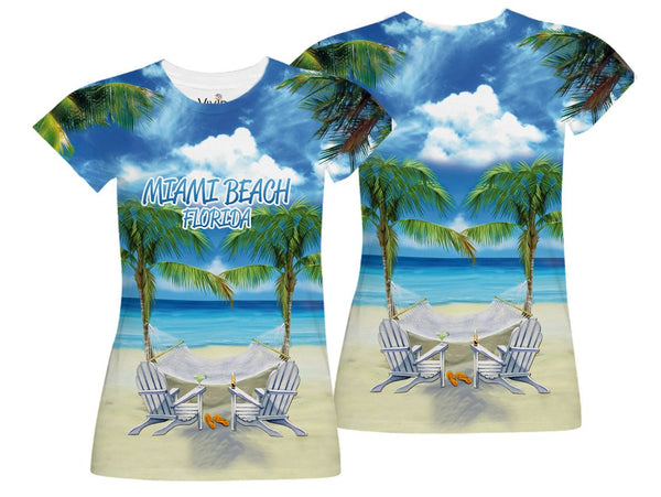 Adirondack Chairs on Beach Sublimation T-Shirt - Vivid Sportswear