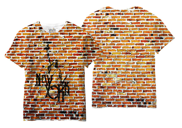 Adults New York, NY Bricks Sublimation T-Shirt - Vivid Sportswear