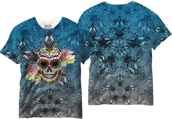 Adults Blue Sugar Skull Sublimation T-Shirt - Vivid Sportswear