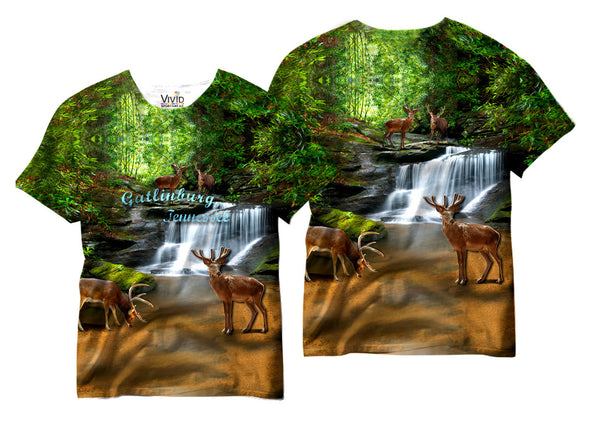 Adults Gatlinburg Tennessee Deer Sublimation T-Shirt - Vivid Sportswear