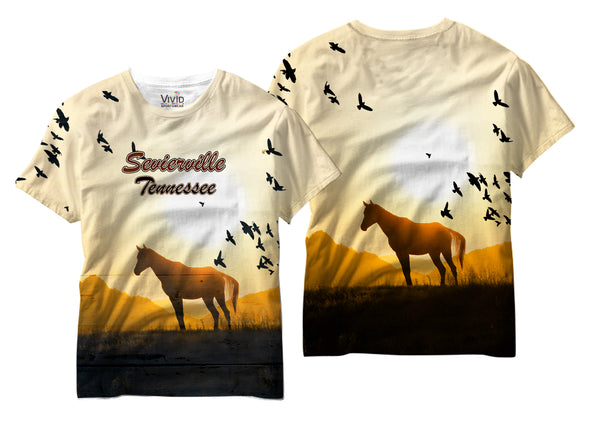 Adults Horse in Sevierville, Tennessee Sublimation T-Shirt - Vivid Sportswear