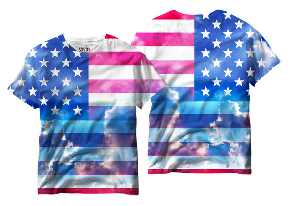 Adults American Flag in the Sky Sublimation T-Shirt - Vivid Sportswear
