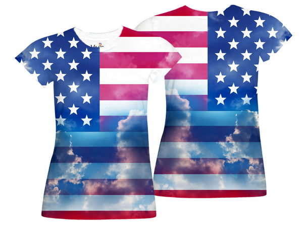 American Flag against Sky Sublimation T-Shirt - Vivid Sportswear