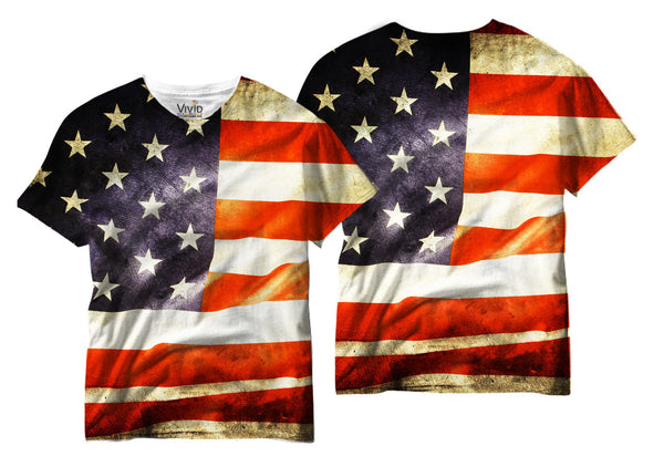 Adults American Flag Sublimation T-Shirt - Vivid Sportswear