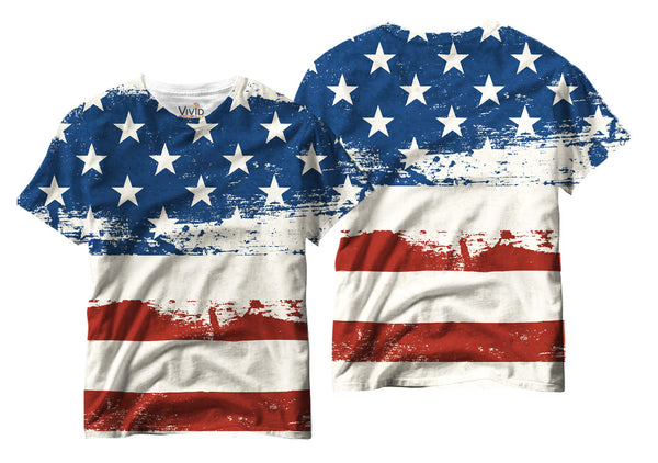 Adults Textured American Flag Sublimation T-Shirt - Vivid Sportswear