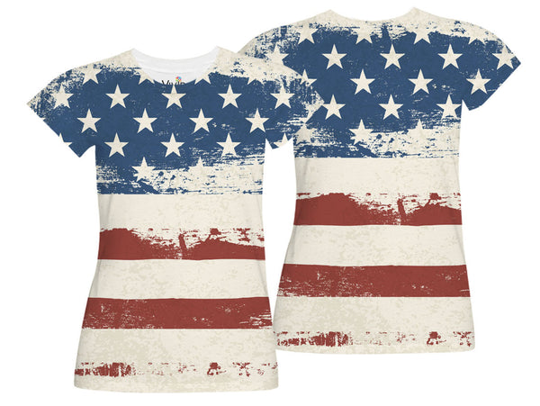 Distressed American Flag Sublimation T-Shirt - Vivid Sportswear