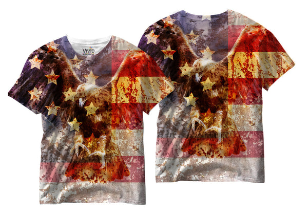 Adults American Eagle/Flag Sublimation T-Shirt - Vivid Sportswear