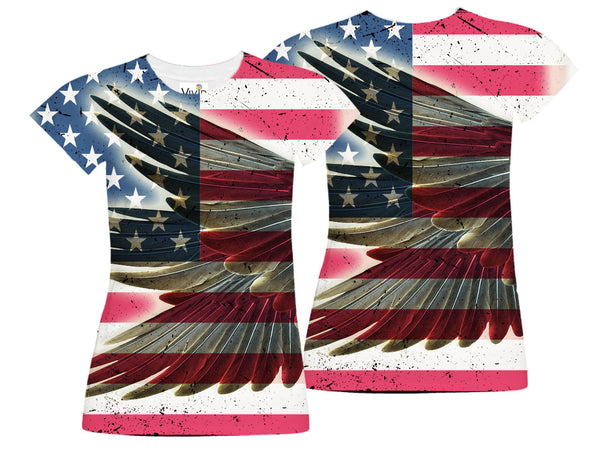 Eagle Wing American Flag Sublimation T-Shirt - Vivid Sportswear