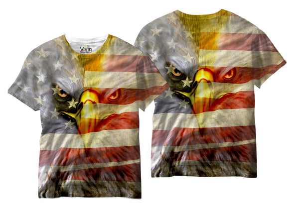 Adults American Flag/Eagle Sublimation T-Shirt - Vivid Sportswear