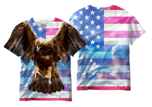 Adults Eagle/American Flag Sublimation T-Shirt - Vivid Sportswear