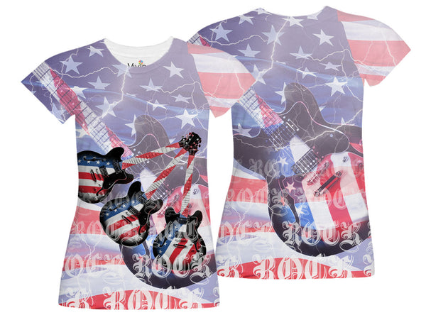 American Electric Guitar Sublimation T-Shirt - Vivid Sportswear