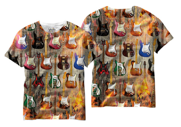 Adults Electric Guitar w/ Flames Sublimation T-Shirt - Vivid Sportswear