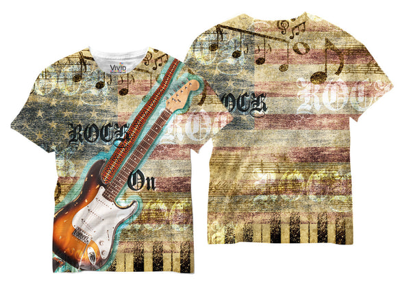 Adults Rock On Music Sublimation T-Shirt - Vivid Sportswear