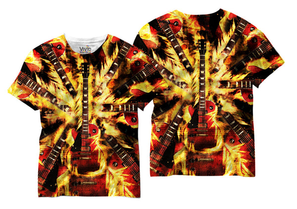 Adults Flaming Guitar Sublimation T-Shirt - Vivid Sportswear