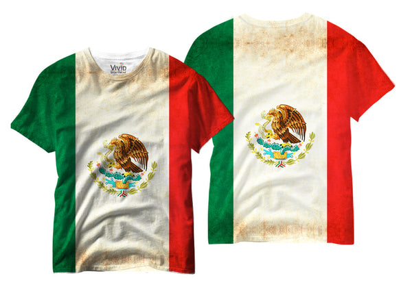 Adults Mexican Flag Sublimation T-Shirt - Vivid Sportswear