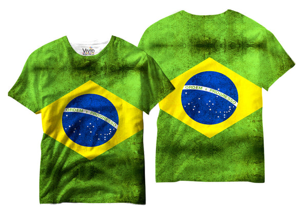 Adults Brazil Flag Sublimation T-Shirt - Vivid Sportswear