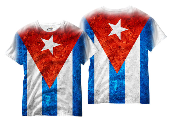 Adults Cuban Flag Sublimation T-Shirt - Vivid Sportswear