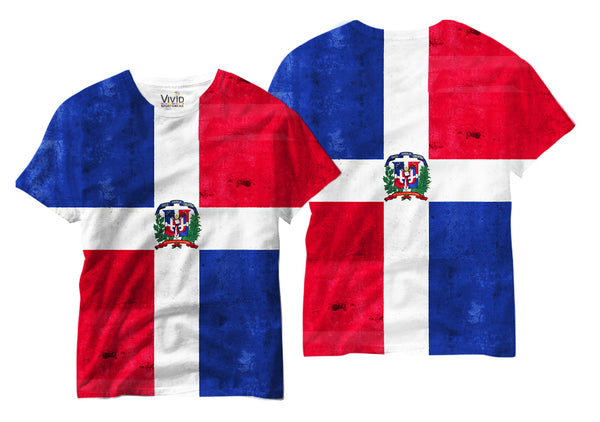 Adults Dominican Republic Flag Sublimation T-Shirt - Vivid Sportswear