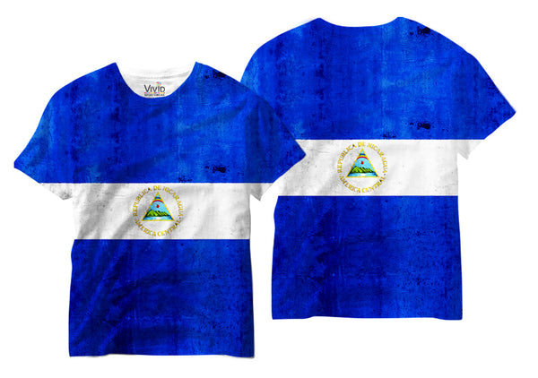 Adults Nicaraguan Flag Sublimation T-Shirt - Vivid Sportswear