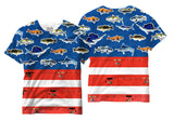 Adults American Flag for Fishermen T-Shirt - Vivid Sportswear