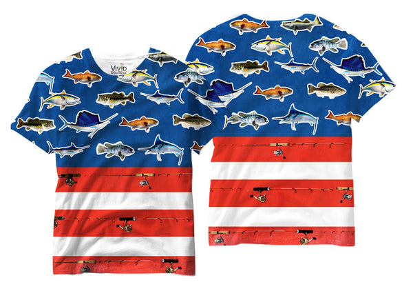 Adults American Flag with Fishes Sublimation T-Shirt - Vivid Sportswear