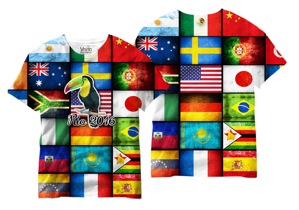 Adults International Flags of the World 2016 Sublimation T-Shirt - Vivid Sportswear