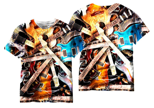 Adults Electric Guitar Collage Sublimation T-Shirt - Vivid Sportswear