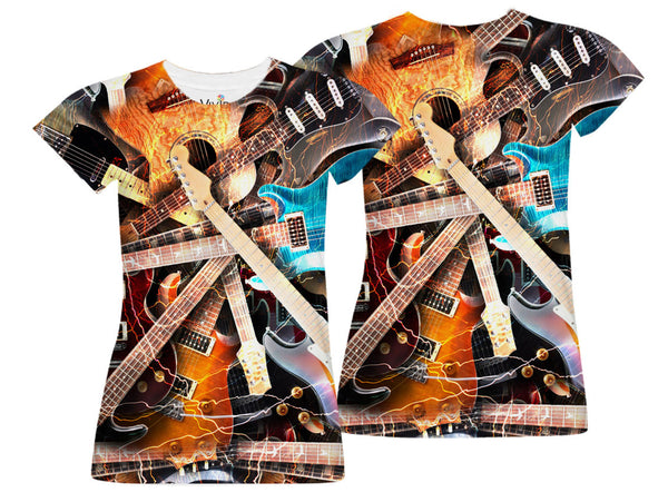 Electric Guitar Collage Sublimation T-Shirt - Vivid Sportswear