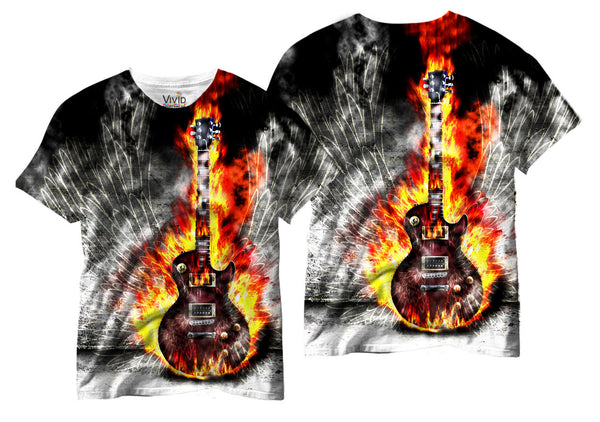 Adults Electric Guitar w/ Wings Sublimation T-Shirt - Vivid Sportswear