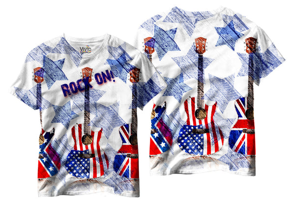 Adults Rock On/Patriotic Sublimation T-Shirt - Vivid Sportswear