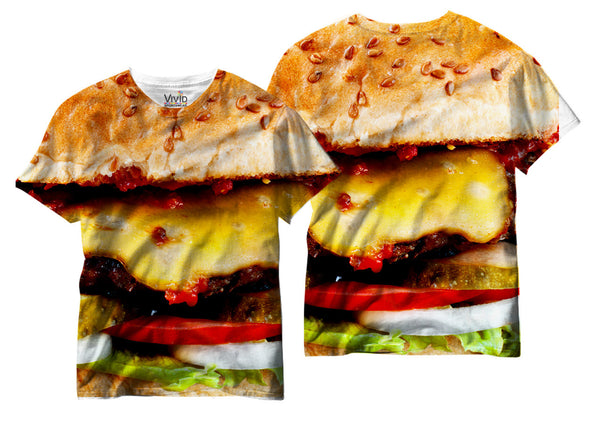 Adults Cheeseburger Lover Sublimation T-Shirt - Vivid Sportswear