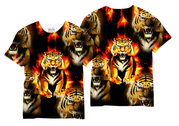 Adults Tiger Fire Sublimation T-Shirt - Vivid Sportswear