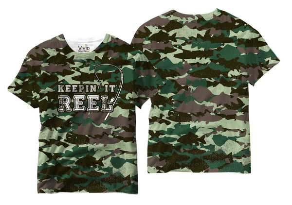 Adults Keepin' it Reel Fish Camo T-Shirt - Vivid Sportswear