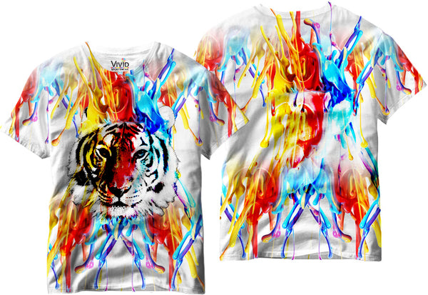 White Tiger Paint Drip Sublimation T-Shirt