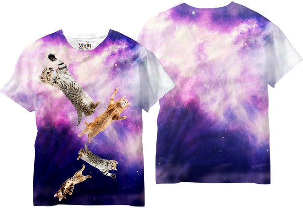 Adults Cats falling from Space Sublimation T-Shirt - Vivid Sportswear