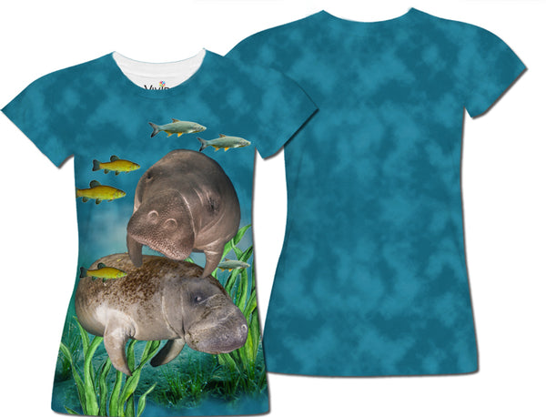 Manatees Underwater Sublimation T-Shirt - Vivid Sportswear