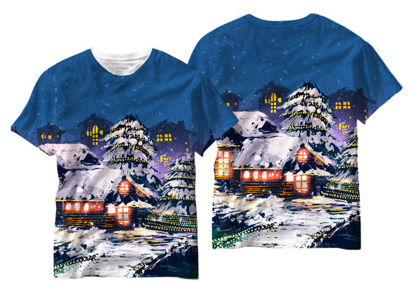 Adults Christmas Town Sublimation T-Shirt - Vivid Sportswear