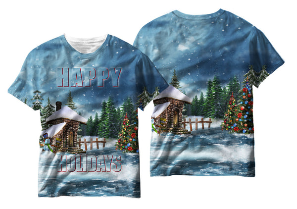 Adults Christmas Cabin Sublimation T-Shirt - Vivid Sportswear