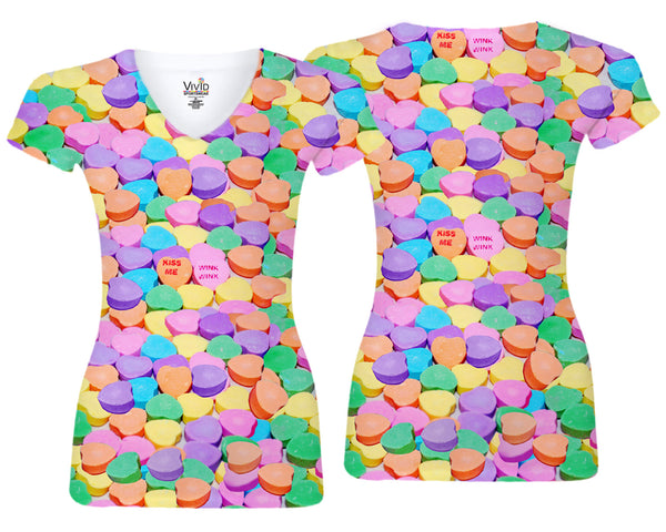 Candy Hearts Sublimation V-Neck Shirt - Vivid Sportswear