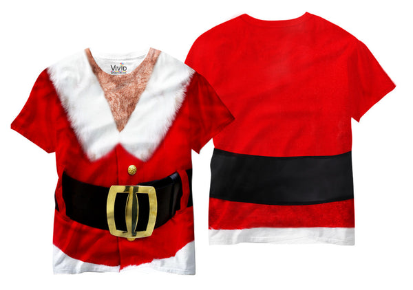 Adults Hairy Chest Santa Sublimation T-Shirt - Vivid Sportswear
