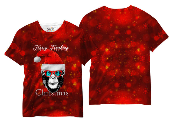 Adults Merry Freaking Christmas Sublimation T-Shirt - Vivid Sportswear