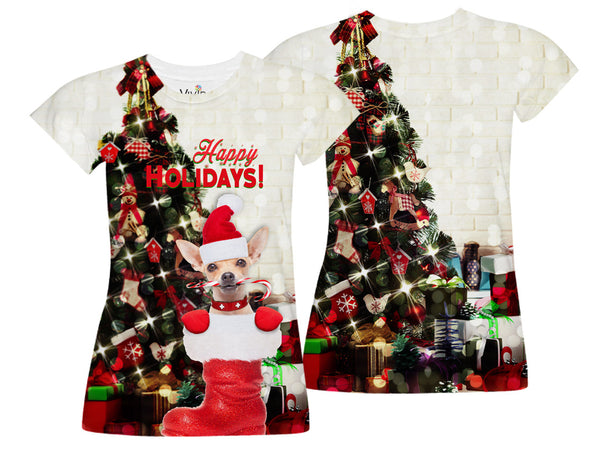 Chihuahua at Christmas Sublimation T-Shirt - Vivid Sportswear