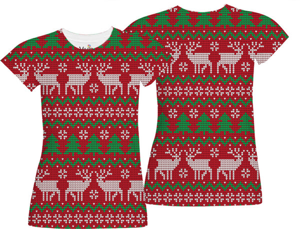 Red Ugly Christmas Sweater Sublimation T-Shirt - Vivid Sportswear