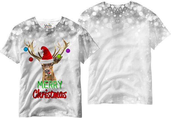 Reindeer with Ornaments Sublimation T-Shirt - Vivid Sportswear