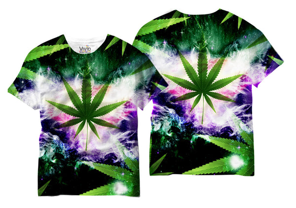 Adults Galaxy Weed Sublimation T-Shirt - Vivid Sportswear